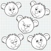 Vector Doodle Cute Bear Face Collection — Stock Vector