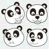 Vector Doodle Cute Panda Face Collection — Stock Vector