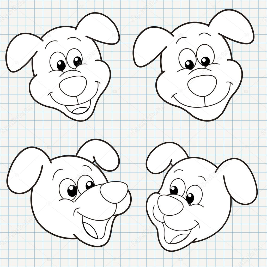 Dog Faces Coloring Pages Vector Doodle Cute Dog Face