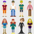 Fashion Pixel People - Stock Vector