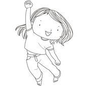 иллюстрация жизнерадостная девочка прыгает против белого му — Cтоковый вектор