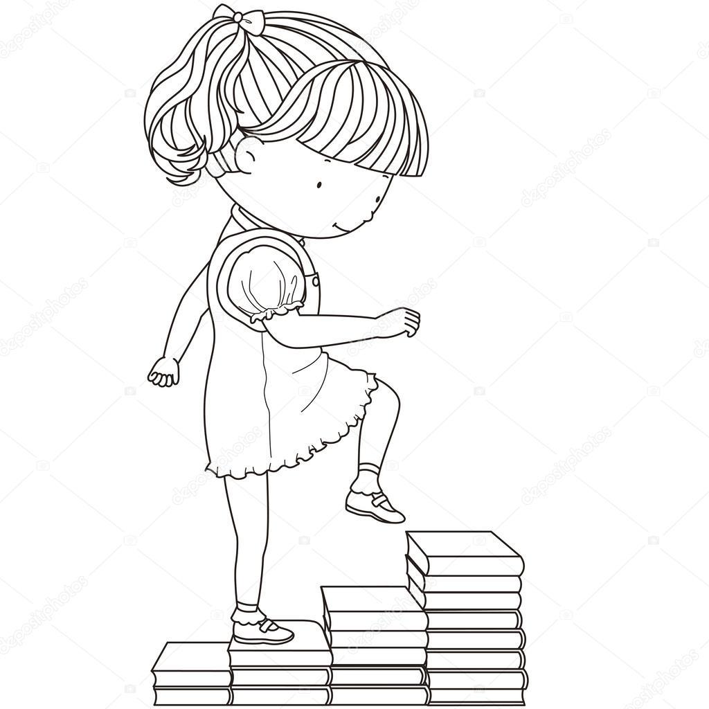 一个可爱的女孩走上楼梯的书籍的插图
