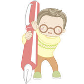 Coloring illustration of a boy with pen — Stock Vector