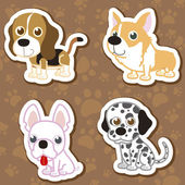 Set di sticker cane cartone animato. — Vettoriale Stock