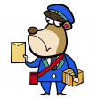 Cartoon bear postman with letter and package — Stock Vector