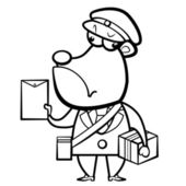 Cartoon bear postman with letter and package — Stok Vektör