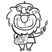Cartoon lion artist with paintbrush and palette — ストックベクタ