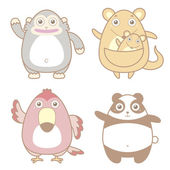 Illustration of cute animal icon collection — Cтоковый вектор
