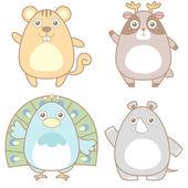 Illustration av söta djur ikon insamling — Stockvektor
