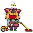 Cartoon cat housewife with a vacuum cleaner — Stock Vector