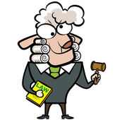 Cartoon sheep judge with a gavel and law book — Stock Vector