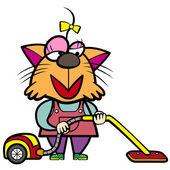 Tecknad katt hemmafru med en dammsugare — Stockvektor