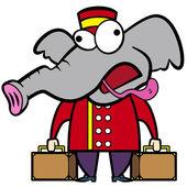 Cartoon elephant porter with suitcases — Stock Vector