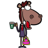 Cartoon office horse with a cup of coffee and a briefcase — Stock Vector