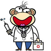 Cartoon monkey doctor with first aid kit and syringe — Stock Vector
