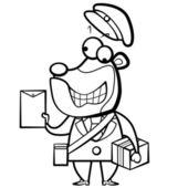 Postino di orso dei cartoni animati da colorare con lettera e pacchetto — Vettoriale Stock
