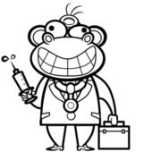Colorazione scimmia cartoon medico con kit di primo soccorso e siringa — Vettoriale Stock