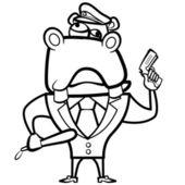 Colorear hipopótamo de la historieta oficial de policía con arma — Vector de stock