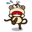 Stock Vector: Humor cartoon monkey running with white background