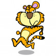 Humor cartoon tiger running with white background — Stock Vector