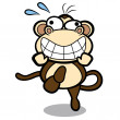 Humor cartoon monkey running with white background — Stock Vector