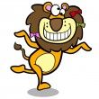 Постер, плакат: Humor cartoon lion running with white background