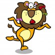Stock Vector: Humor cartoon lion running with white background