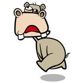 Humor cartoon hippo running with white background — Stock Vector