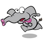 Elefante dos desenhos animados de humor com fundo branco — Vetor de Stock