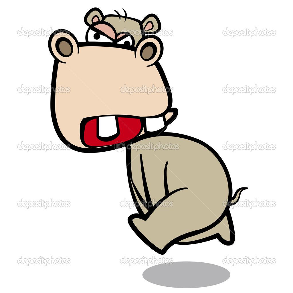 Ippopotamo cartone animato di umorismo in esecuzione con