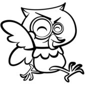 Coloring humor cartoon owl running with white background — Stock Vector