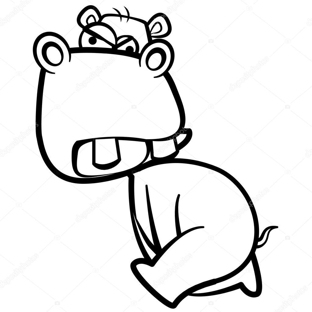 Disegni da colorare ippopotamo cartone animato di umorismo