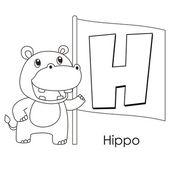 Djur alfabetet h — Stockvektor