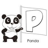 Animal alphabet P — Stock Vector