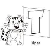 動物のアルファベット t — ストックベクタ