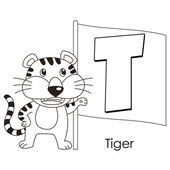 Animal alphabet T — Vetor de Stock