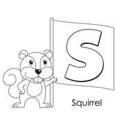 Animal alphabet S — Stock Vector