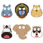 Cartoon animal head set — Stock Vector