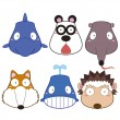 Cartoon animal head set — Stock Vector