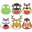 Cartoon animal head set — Stock Vector #26593685