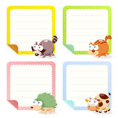 Cute animal note papers collection — Stock Vector