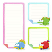 Cute animal note papers collection — Vecteur