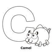 子供たちは、c のためのアルファベットの着色 — ストックベクタ