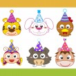 Cartoon party animal icons collection — Stock Vector #26916585