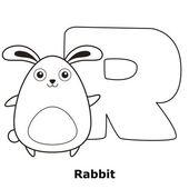 çocuklar için alfabe boyama r — Stok Vektör