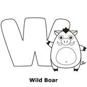 Alfabeto para colorir para crianças, w — Vetorial Stock