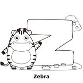 Coloring Alphabet for Kids, Z — Stock Vector
