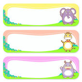 Cute animals set of banner elements — Stock Vector