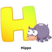 Alfabeto animales h — Vector de stock