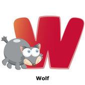 Alphabet animaux w — Vecteur